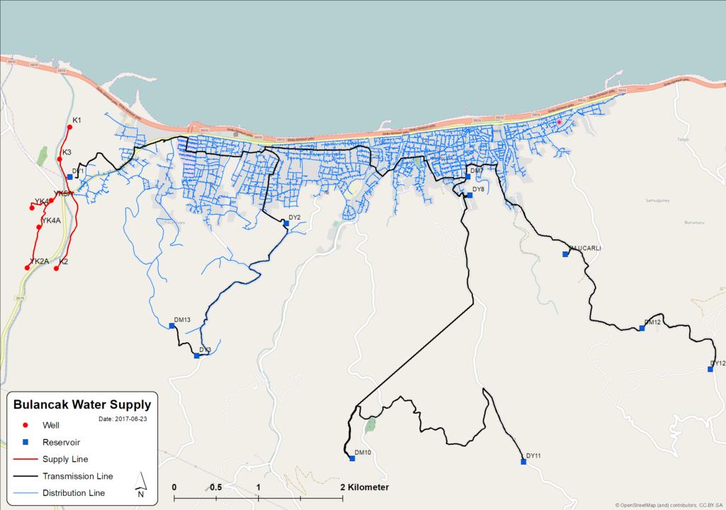 GIS of newly built water supply system of Bulancak, Turkey